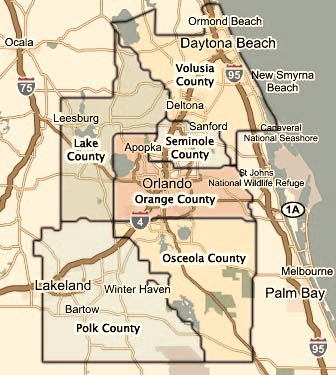 Central Florida County Map shows 5 main counties in Central Florida