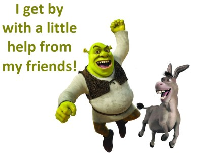 friendship orlando espinosa i get by with a little help from my friends shrek-and-donkey