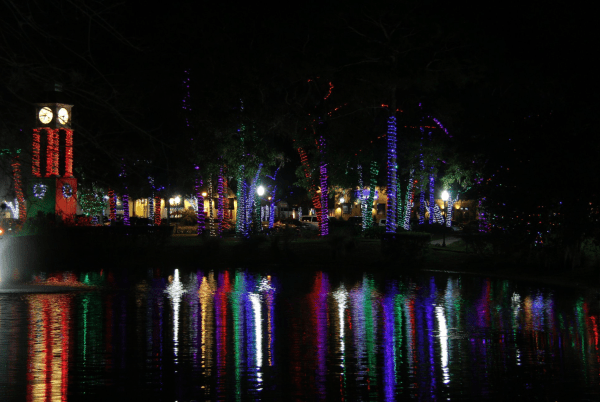 Where to see Christmas lights in Orlando: image of holiday light display in Lake Mary
