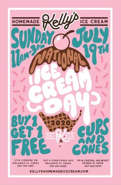 National Ice Cream Day: graphic of BOGO cups and cones at Kelly's Ice Cream on July 19, 11am - 3pm