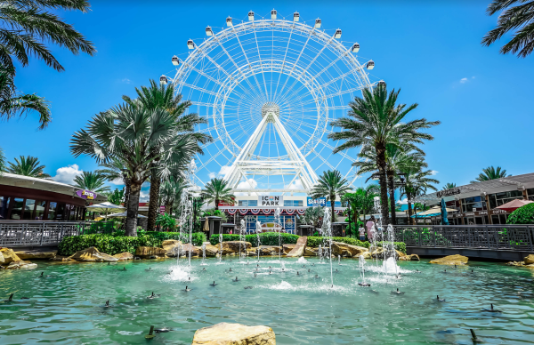 The Wheel discounts: image of the Wheel and fountains at ICON Park in Orlando
