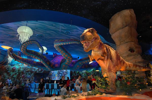 Dinosaurs in Orlando: image of T-Rex dinosaur in the T-Rex Cafe in Disney Springs in Orlando, Florida