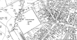 A section of the 1908 Ordnance Survey map showing Coronation Park in Ormskirk