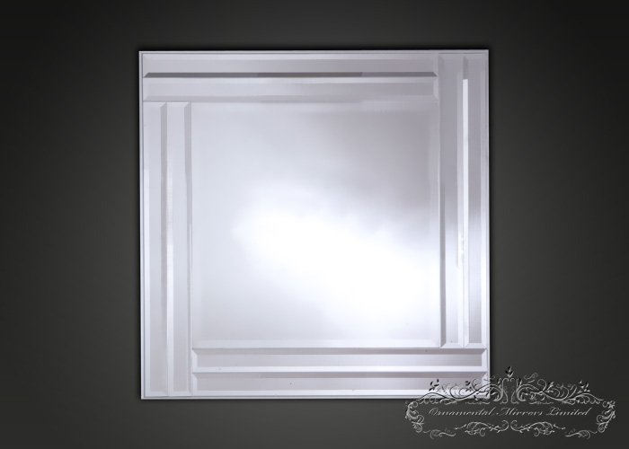 Diamond Shaped Square Glass Wall Mirrors With Silver Frame