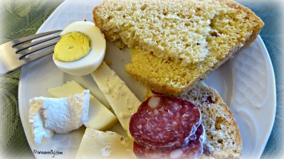 Corallina salami, hard-boiled egg, cheese, pizza di pasqua and casatiello.