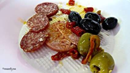 Salame with olives and sun dried tomatoes