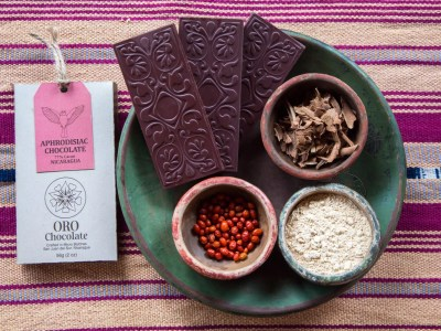 Aphrodisiac Chocolate Bar 77% Cacao Wild Heirloom Bean to Bar Direct Trade Organic with Packaging and Organic Guatemala Textile San Juan del Sur Nicaragua