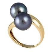 sortija de oro y perlas cultivadas