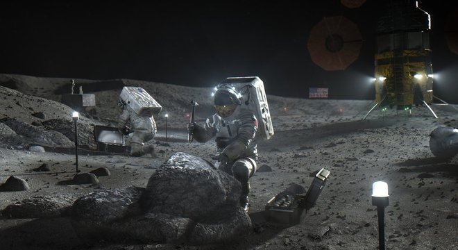 A Nasa quer mandar astronautas, como os retratados nessa ilustração, de volta para a lua — e talvez até construir uma base
