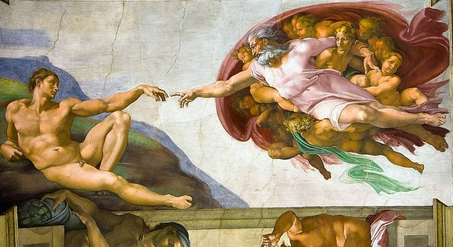 Pintura de Michelangelo na Capela Sistina; o tato é o primeiro sentido que desenvolvemos