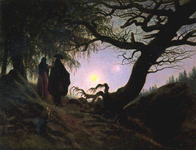 Homme et femme contemplant la lune par Caspar David Friedrich