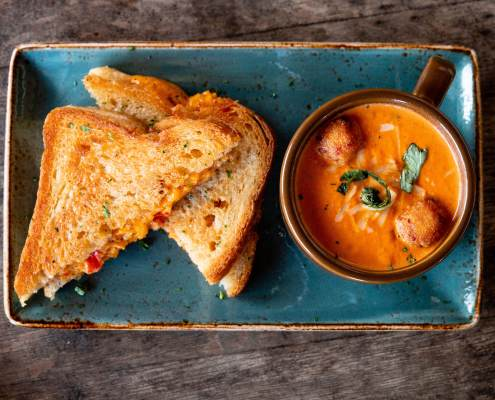 Pimento Grilled Cheese & Tomato Basil Soup Cotton Blues Food Photo