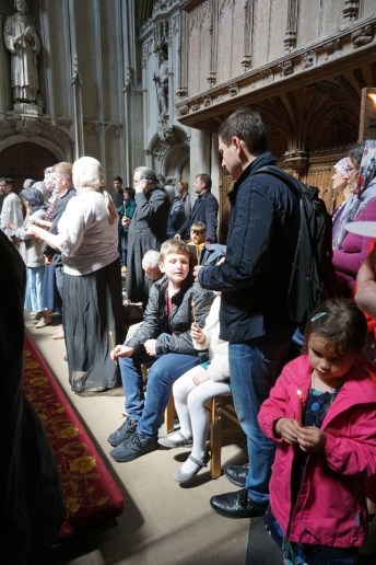 Faithful gather at the shrine of St Alban
