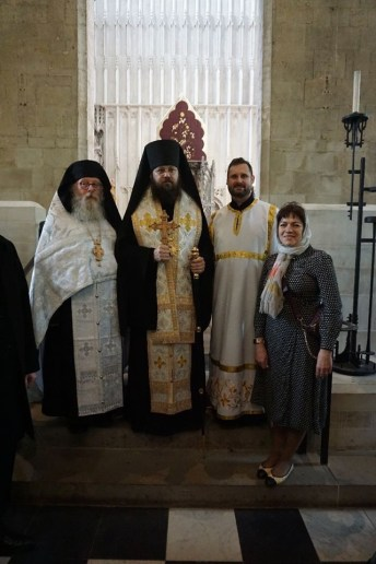 Bishop Irenei, Hieromonk Mark and newly-tonsured Mark Fisher with his wife