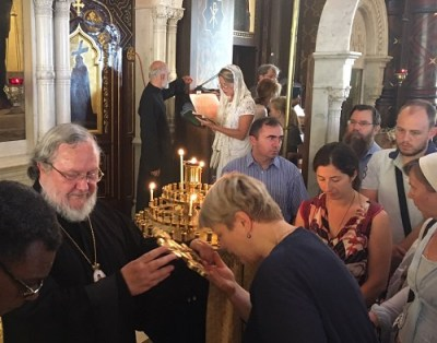 Archbishop Irenée of Canada (OCA) visits the Geneva Cathedral, July 2019