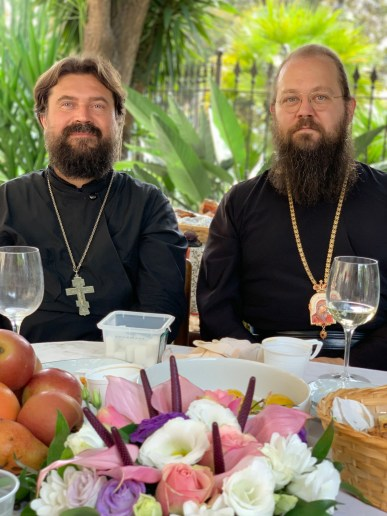 Bishop Irenei with Priest Dionysius Baikov in Sanremo, Italy, 2019