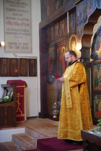 Deacon Vladimir Svystun serves at the Memorial Church, Brussels