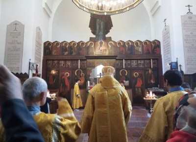Hours before the Divine Liturgy at the Memorial Church of St Job, Brussels