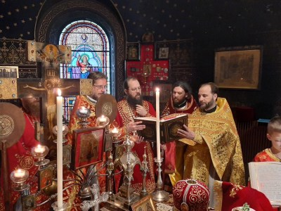 Bishop Irenei and priests intone the litany during the ordination of Deacon Aviv as Priest
