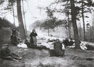 Postój bieżeńców - 1915 r.