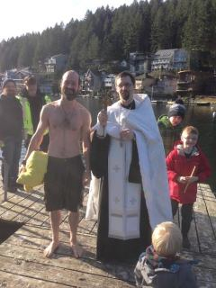 Mark and Fr. Matthew on the Dock
