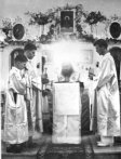 St. John, Archbishop of Shanghai and San Fransisco -- Serving in Tunis 1952 -- Surrounded by Uncreated Light.