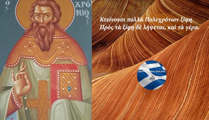 Θυσιάστηκε για τα ορθόδοξα δόγματα της Εκκλησίας μας - Άγιος Πολυχρόνιος ο Ιερομάρτυρας - Ορθόδοξος συναξαριστής 7 Οκτωβρίου