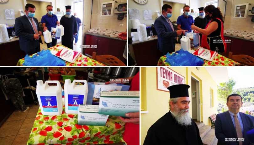 Ναύπλιο: Υγειονομικό υλικό παρέδωσε ο Αντιπεριφερειάρχης Αργολίδας στο Συσσίτιο Ευαγγελίστριας