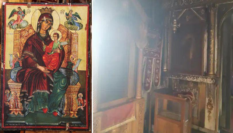 Η πυρκαγιά δεν πείραξε την εικόνα της Παναγίας στην Ιερά Μονή Παναγίας Κατερινούς
