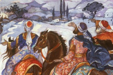 The three Magi on horseback approaching the cave of Christ's nativity