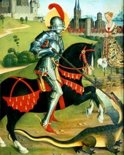 Позднесредневековое немецкое изображение святого Георгия, убивающего дракона.