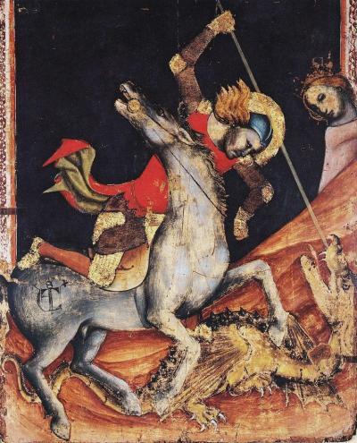 Итальянская фреска изображающая святого Георгия, поражающего змея.