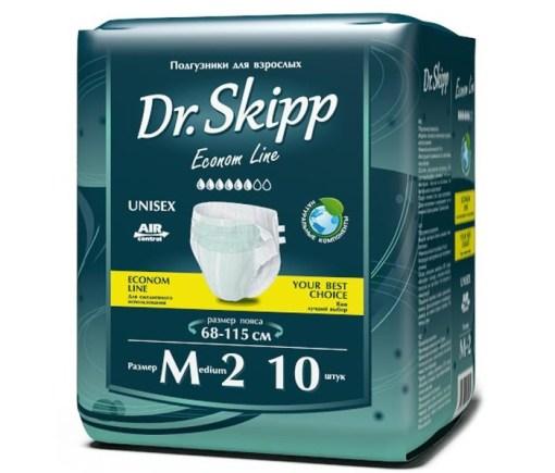 Подгузники для взрослых Dr. Skipp Econom Line, размер М-2(68 - 115 см), 10 шт.