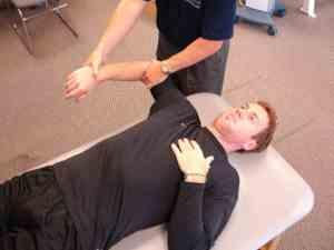 Medida da rotação interna do ombro