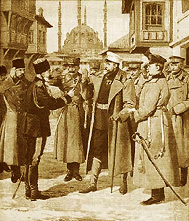 Predaja Šukri-paše generalu Ivanovu. Ilustracija iz francuskog ''Malog žurnala''
