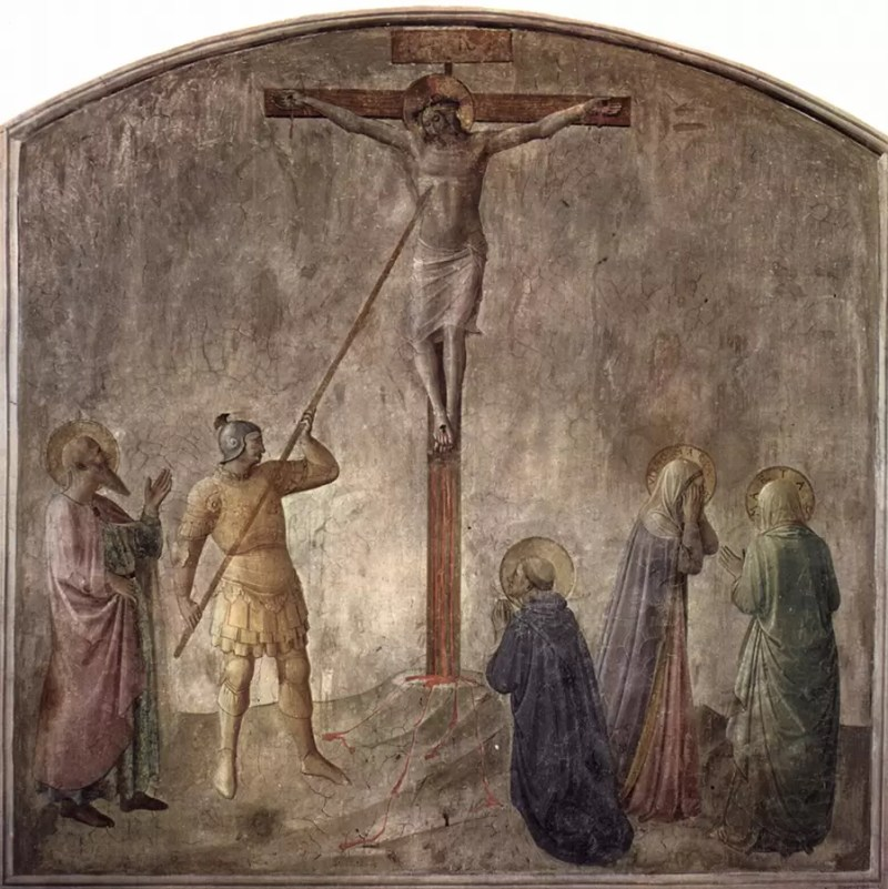 Legionar probada Hrista kopljem - freska Fra Angelika 1395–1455 u Firenci