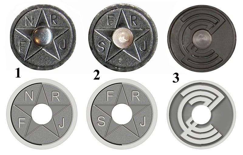 Abrevijature na koricama: 1 – FNRJ (od 1963 do 1968); 2. – SFRJ (od 1968 do 1982; 3 – na komercijalnom oružju - abrevijatura farbrike ZCZ