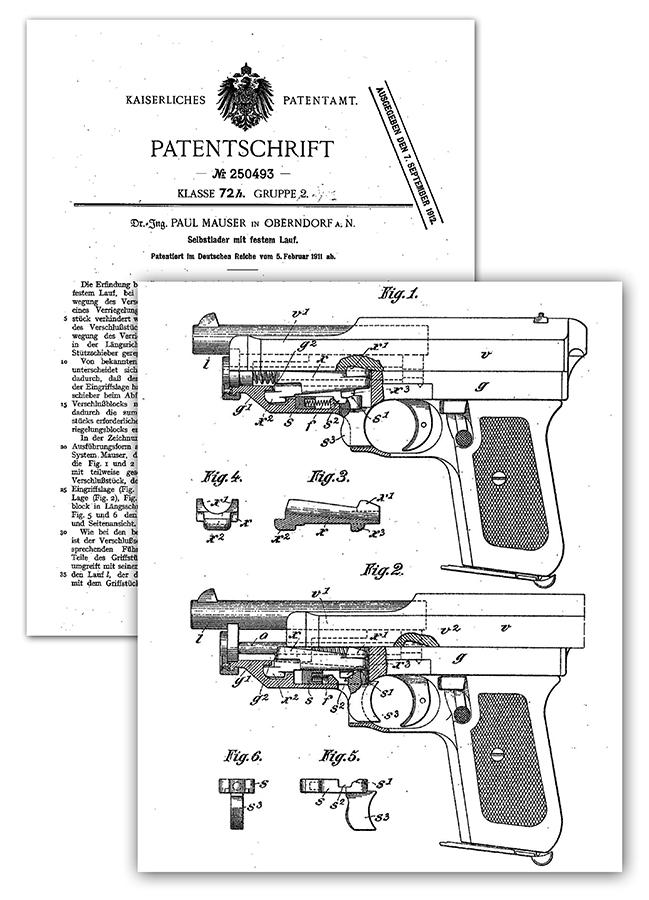 Pištolj sistema Mauser, nemački patent 250.493