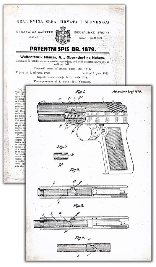 Pištolj Mauser-Nickl, jugoslovenski patent 1879