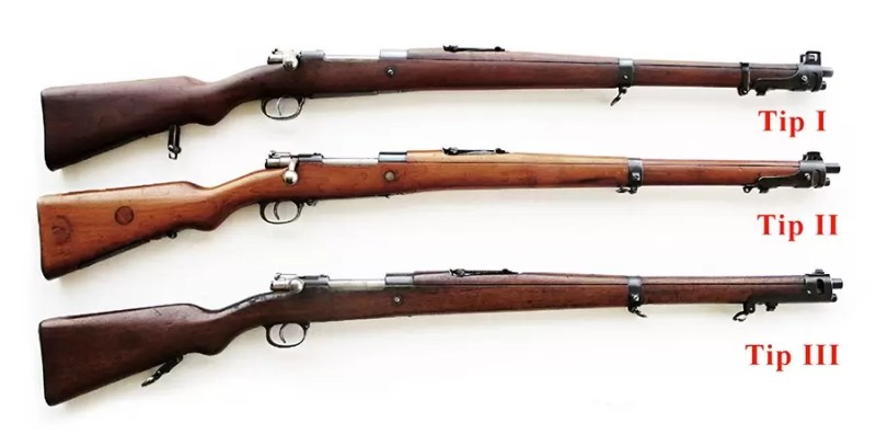Tri tipa pušaka sistema Mauser-Jelen. Foto Jan Skramoušský, Mauser podle Jelena, Vojenski historickéhi ústav.