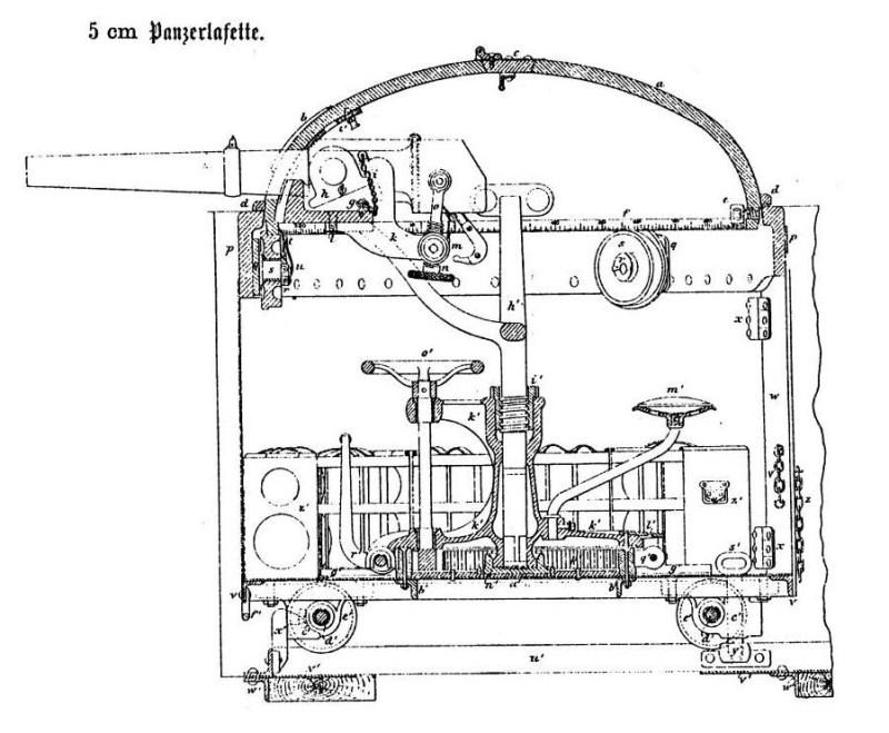 Originalni crtež preseka oruđa sistema Gruzon kalibra 50 mm.