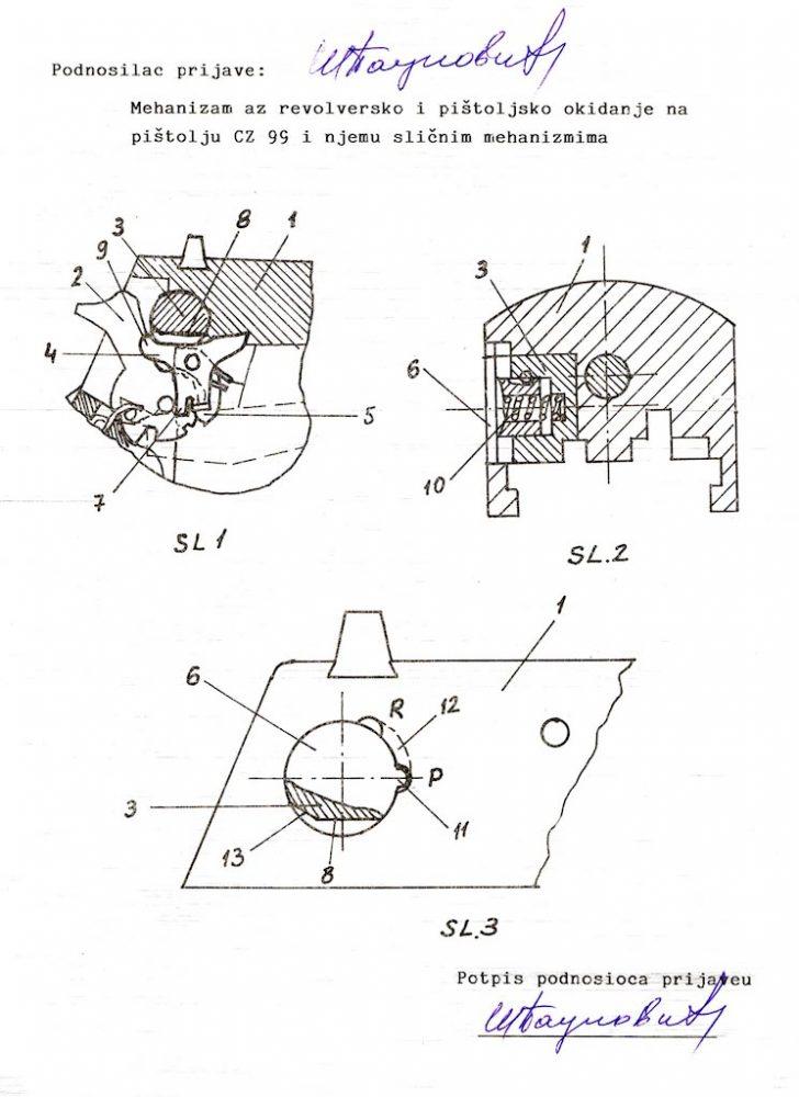 Patentna prijava Milivoja Paunovića za pištolј CZ-999/CZ-999R (R- Revolver – režim revolver)