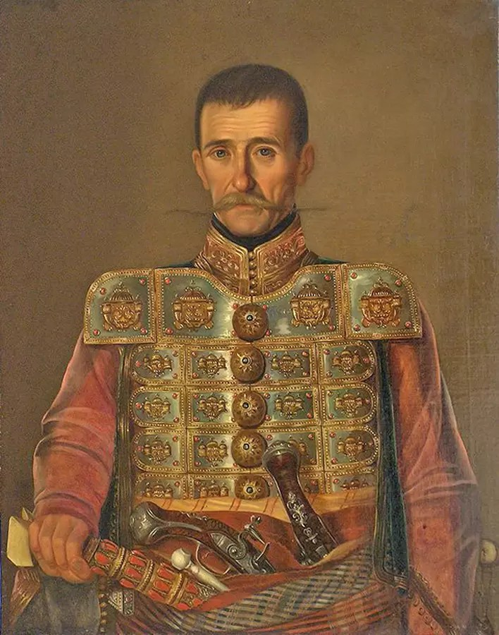 Uzun-Mirko Apostolović (1782-1868), na čijoj sahrani je ispalјen prvi plotun iz grinovača. Rad Uroša Kneževića oko 1855. NM, Beograd