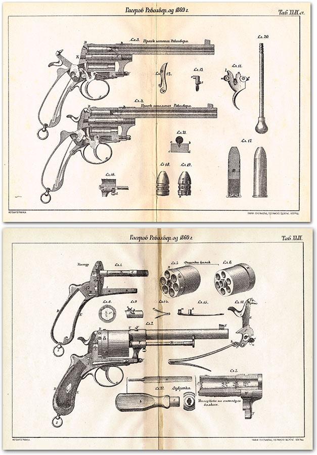 Presek i izgledi revolver sistema Gasser M1870 (oznaka modela na crtežima prema godini patenta). K. Milovanović, Artiljerija, 1879