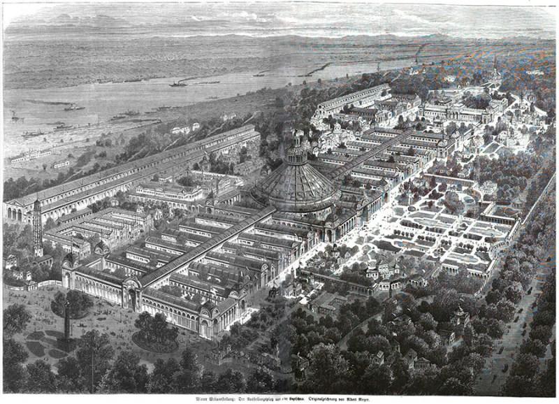 Plan Svetske izložbe u Beču, 1873. Illustrierte Zeitung Nr. 1556, Leipzig, 1873
