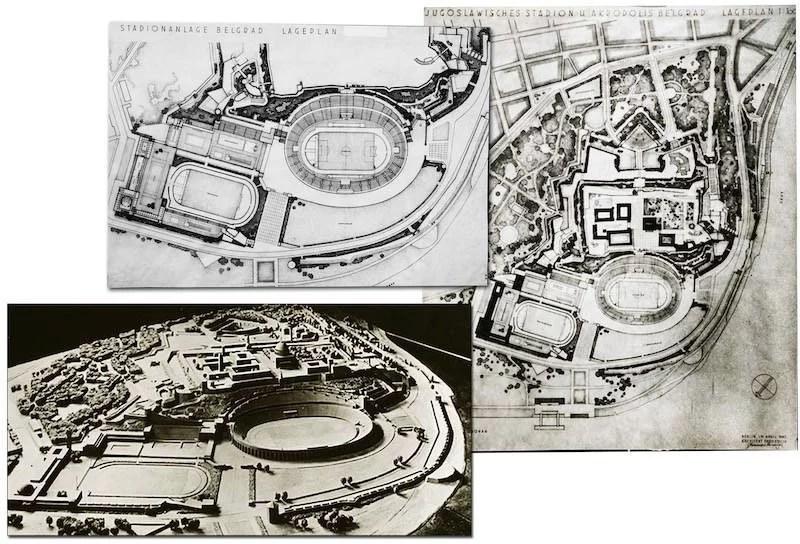 Verner Marh, plan i maketa olimpijskog kompleksa u Donjem gradu. Arhiv Narodnog muzeja