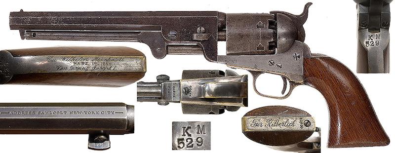 Falsifikat: Colt Navy 1851 američke prozivodnje, broj 32509 sa žigom KM 539 na kome je naknadno utisnuta lažna posveta Franca Jozefa I