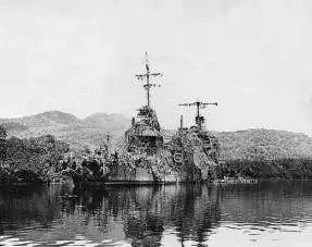 Američka krstarica New Orleans prekrivena kamuflažnom mrežom sakrivena u uvali Tulagi, dan nakon što je pogođena torpedom koji je ispaljen sa japanskog razarača tokom bitke