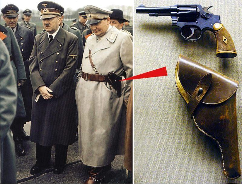 Hitler i Gering (levo). Geringov .38 S&W Militaryand Police Model K 1905 (desno)