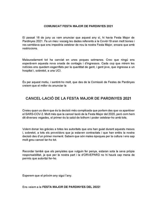 COMUNICAT FESTA MAJOR DE PARDINYES 2021